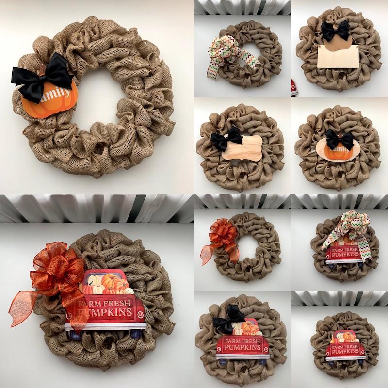 Decorated burlap wreath