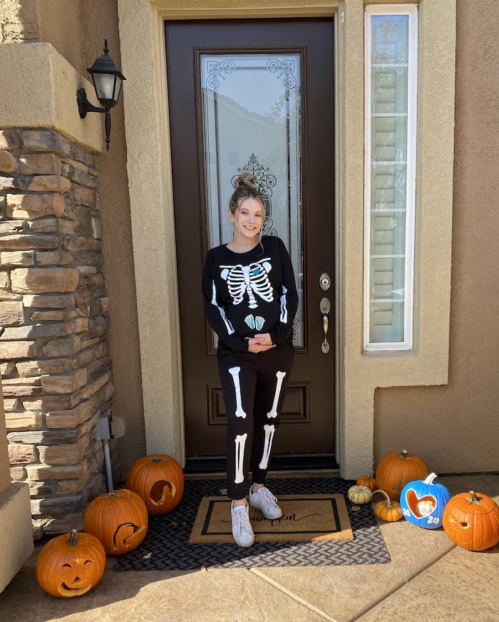 Lexi in her skeleton costume
