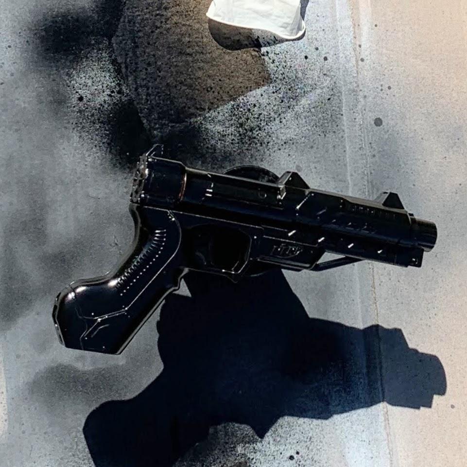 nerf gun painted black
