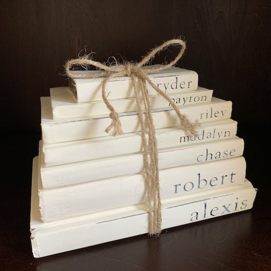 Farmhouse books wrapped in twine