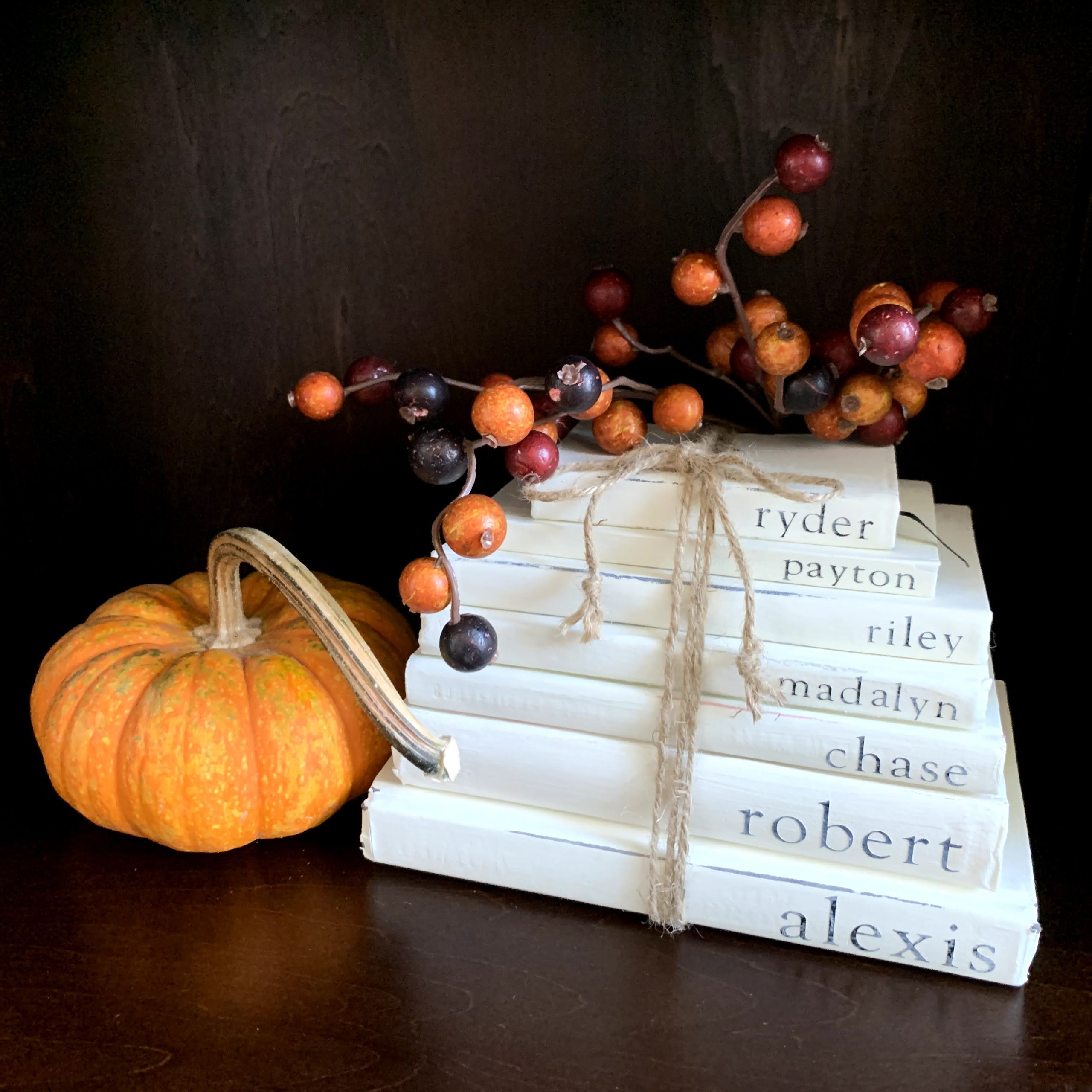 Stacked Farmhouse Books with Pumpkin