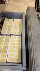 Ice cube trays in freezer