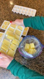 Putting lemon cubes into ziplock bags