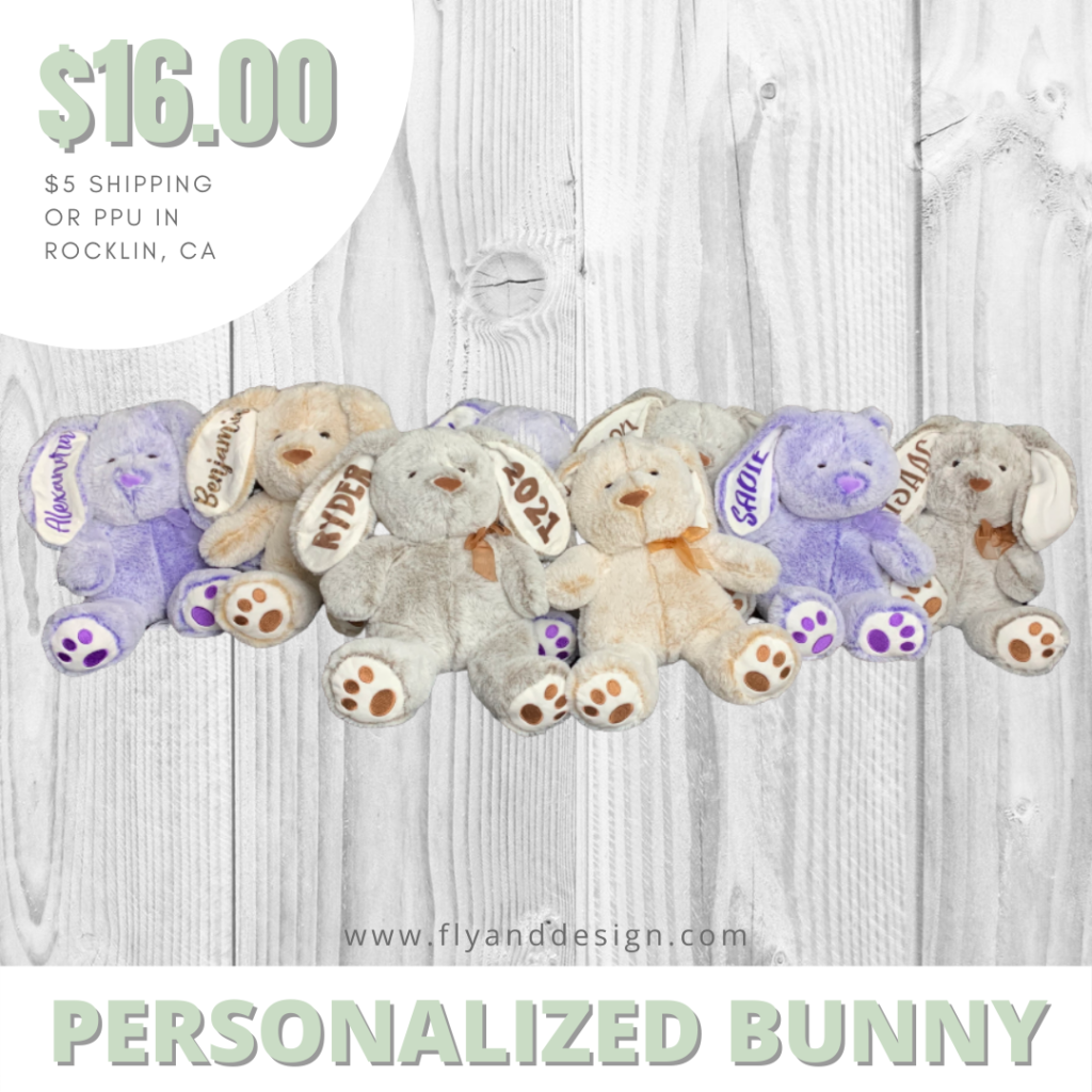 personalized bunnies in a row